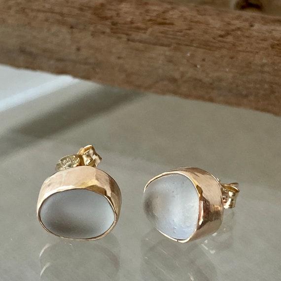 14k Gold Bezel Genuine Sea Glass Stud Earrings
