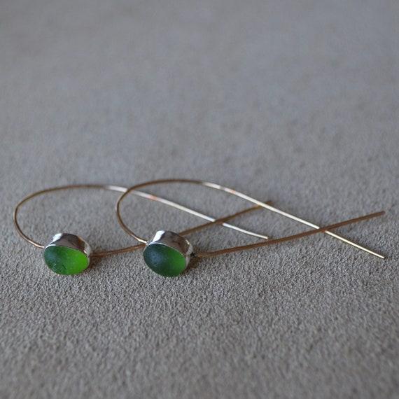Sterling Silver Bezel Genuine Sea Glass Tear Drop with 14k Gold Threader Earrings