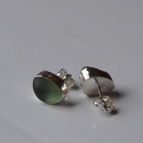 Sea Glass Earrings I Sea Glass Studs I Sterling Silver Bezel Genuine Sea Glass Stud Earrings