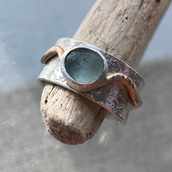 Sea Glass  Ring | Meditation Ring | Sterling Silver and 14k Gold Sea Glass Ring | Sea Glass Ring | Sea Glass Jewelry | Sea Glass