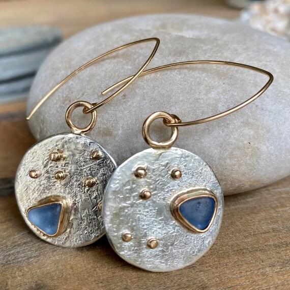 Sea Glass Earrings I Genuine Sea Glass I Mixed Metal I Kate Samson Jewelry