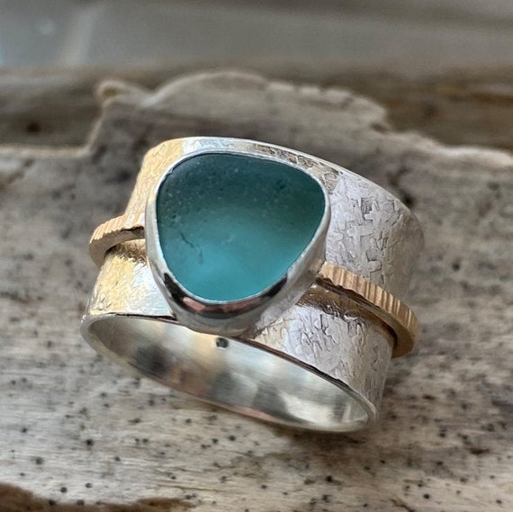 Sea Glass Ring | Sterling Silver & Authentic Sea Glass Ring | Beach Glass Ring | Spinner Ring | Sea Glass Jewelry | Beach Glass Jewelry