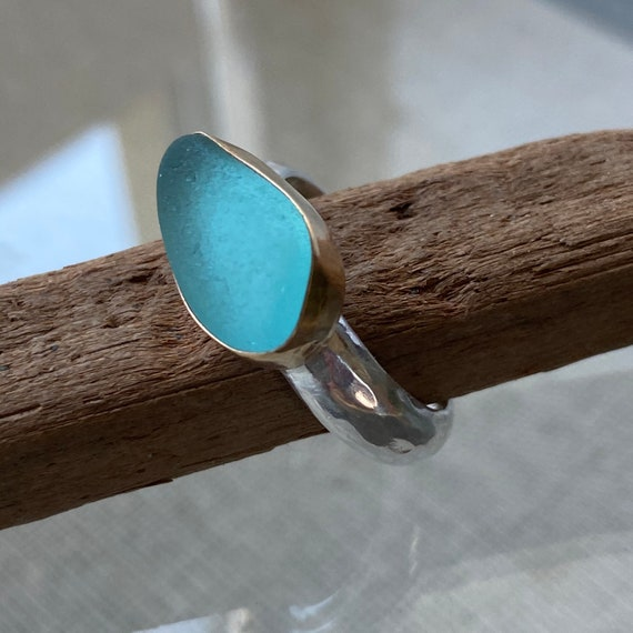 14k Gold Bezel Genuine Sea Glass Ring with Wide Sterling Silver Band  l  Sea Glass Ring  l  Size 7 I Sea Glass Jewelry by Kate Samson