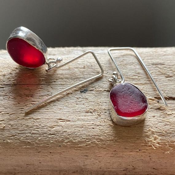 Sea Glass Earrings I Red Sea Glass Dangly Earrings I Ready to Ship