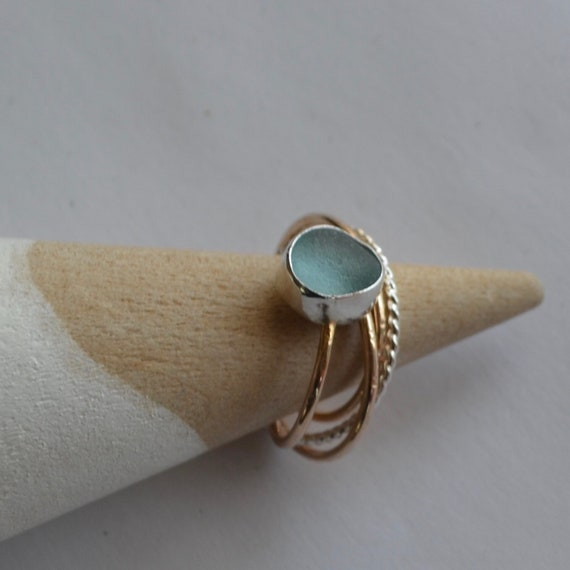Sterling Silver Bezel Genuine Sea Glass Puzzle Ring