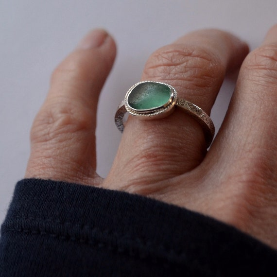 Sterling Silver Bezel Genuine Sea Glass Ring with Decorative Sterling Silver Band