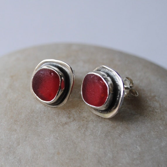 Sterling Silver Rare Red Sea Glass Stud Earrings . Genuine Sea Glass . Sea Glass Studs . Beach Glass