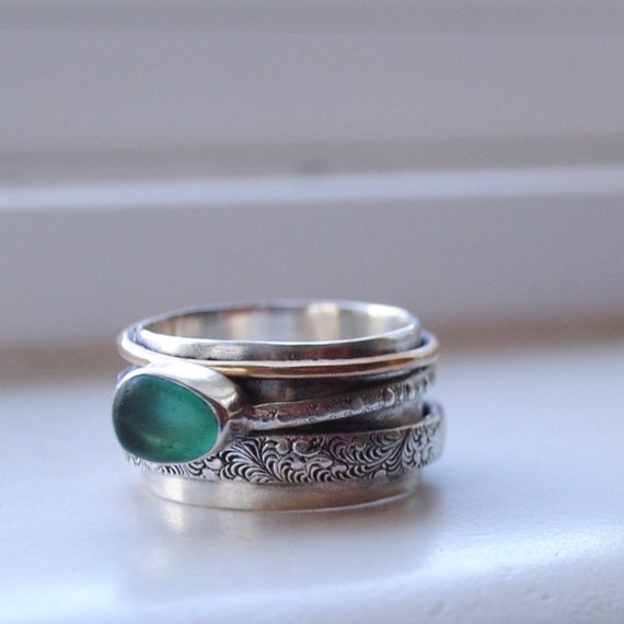 Sterling Silver Bezel Genuine Sea Glass attached to Delicate Sterling Silver Ring Spinner with Wide Sterling Silver Band. Meditation Ring