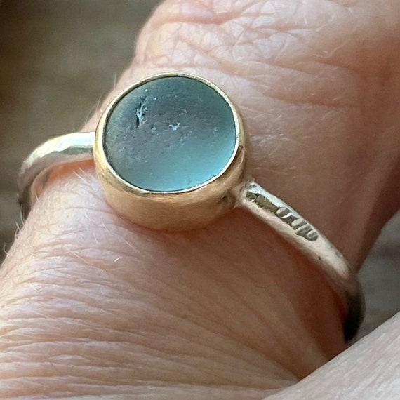 Sea Glass Ring I Genuine Sea Glass I 14k Gold Bezel Sea Glass Ring I Beach Glass Ring I Kate Samson Jewelry