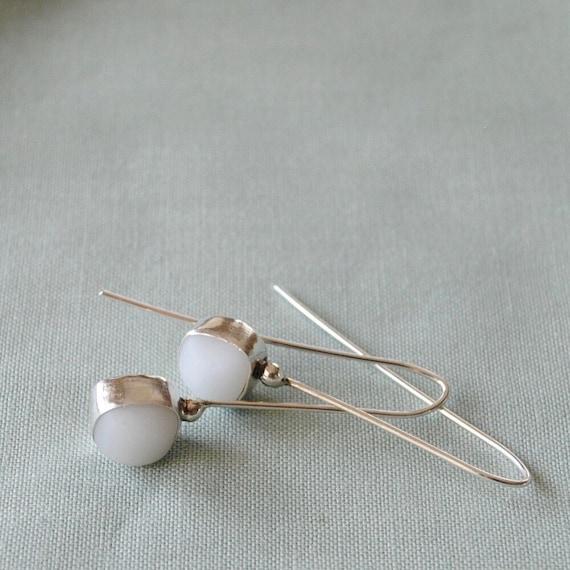 Sterling Silver Bezel Genuine Milk White Sea Glass Tear Drop Earrings