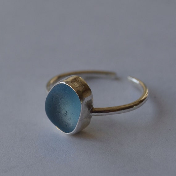 Dainty Sterling Silver Bezel Genuine Sea Glass Ring with Adjustable Band