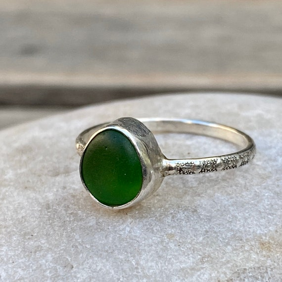 Sea Glass Ring I Genuine Sea Glass I Sterling Silver Bezel Green Sea Glass Ring I Size 8.5