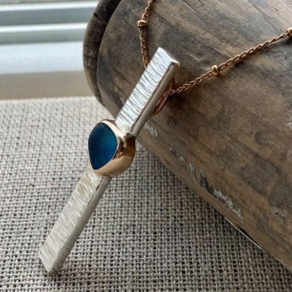 Sea Glass Necklace I Sea Glass Bar Necklace I Genuine Sea Glass I Mixed Metal I Kate Samson Jewelry