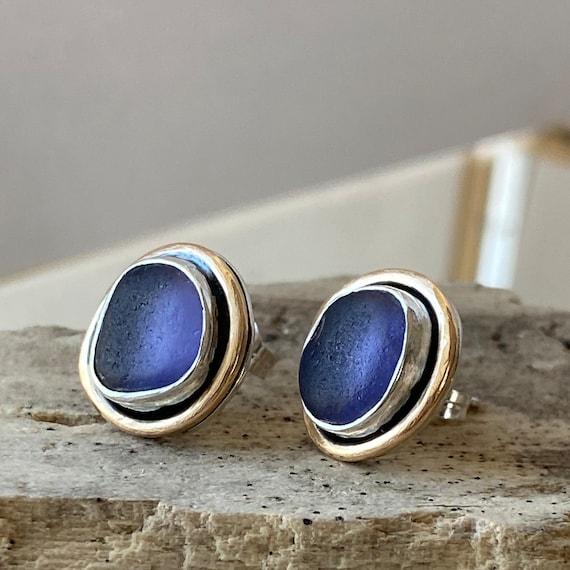 Sea Glass Stud Earrings I Sterling Silver Bezel with 14k Gold Double Bezel Sea Glass Stud Earrings I Purple Sea Glass Stud Earrings