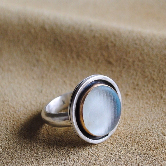 14k Gold Bezel - Sea Glass Ring with Wide Sterling Silver Band - Ohajiki Sea Glass Marble