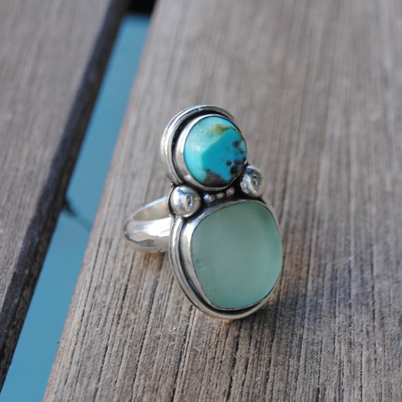 Turquoise and Sea Glass - Sterling Silver- Sea Glass Ring with Thick Hand Hammered Band - Sea Glass Jewelry by Kate Samson