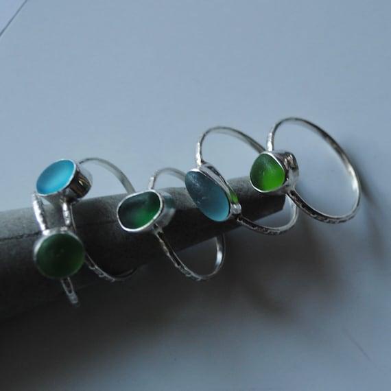 Sea Glass Ring .  Sea Glass Stacker Ring . Sea Glass Ring . Genuine Sea Glass . Beach Glass Ring