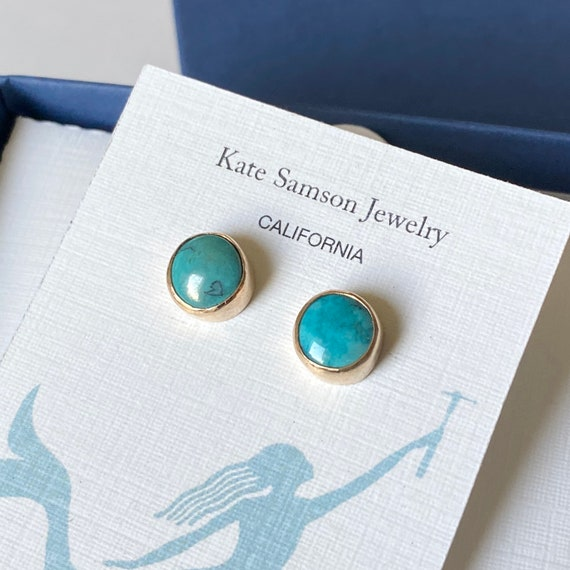 Gold Bezel Turquoise Stud Earrings  l  Turquoise Studs  l Gold earrings l  Sea Glass Jewelry by Kate Samson