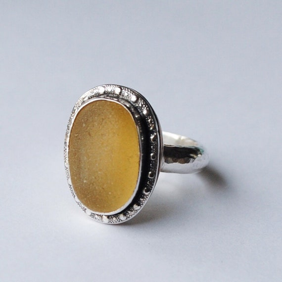 Decorative Sterling Silver and 14k Gold Bezel Genuine Yellow Sea Glass Ring with Hammered Band - Size 7.5 - Sea Glass Ring
