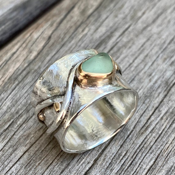 Sea Glass Ring | Sage Sea Glass I size 6.5 | Sterling Silver and 14k Gold Sea Glass Ring | Sea Glass Jewelry