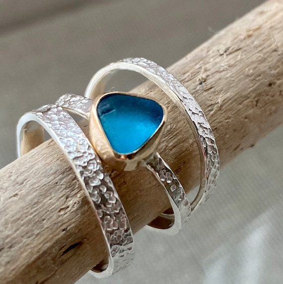 Sea Glass Stacking Rings