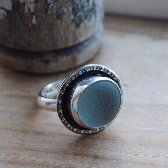 Decorative Sterling Silver Bezel Sea Glass Ring with Hand Hammered Band - Size 8 - Sea Glass Ring
