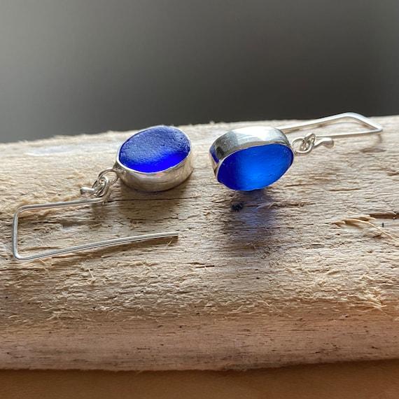 Sea Glass Earrings I Cobalt Blue Sea Glass Dangly Earrings I Ready to Ship