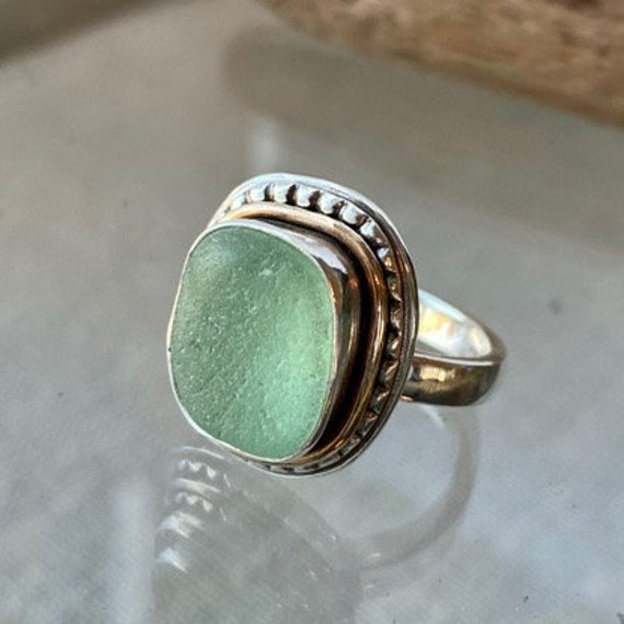Sea Glass Ring . Ready to Ship . Size 6.5