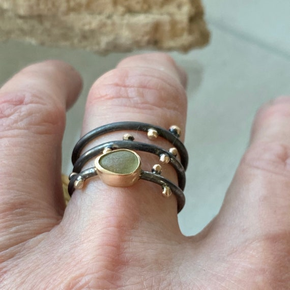 Sea Glass Rings I Sterling Silver I 14k Gold I Sea Glass Stacking Rings I Mixed Metal Jewelry Kate Samson Design