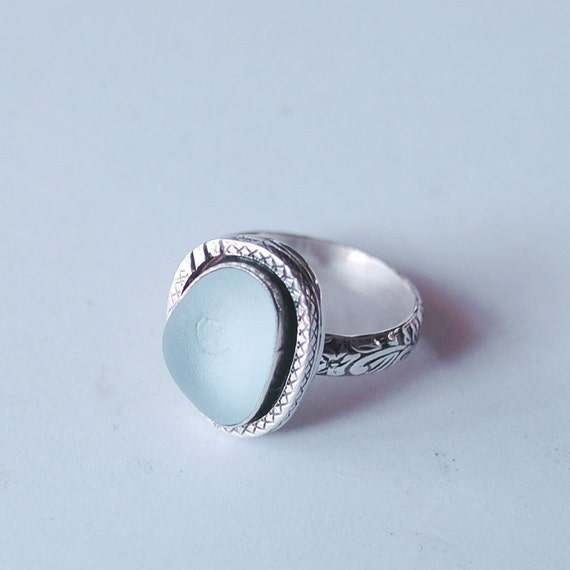 Custom Sterling SilverBezel Sea Glass Ring with Decorative Band