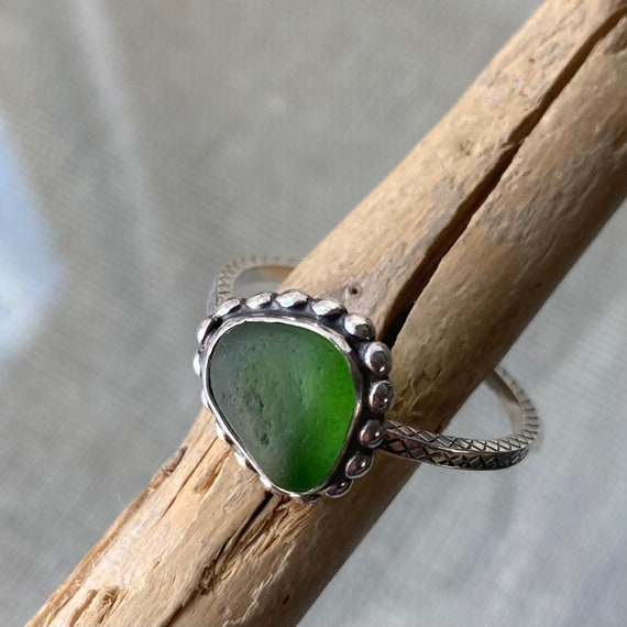 Sea Glass Ring . Sterling Silver Bezel Green Sea Glass Ring . Ready to Ship . Size 8.5