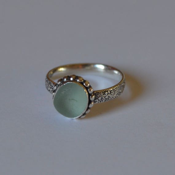 Sterling Silver Bezel Genuine Sea Glass Ring with Decorative Band - Sea Glass Ring
