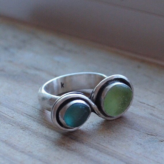 Infinity Ring - Sterling Silver- Sea Glass Ring with Thick Hand Hammered Band - Genuine Sea Glass