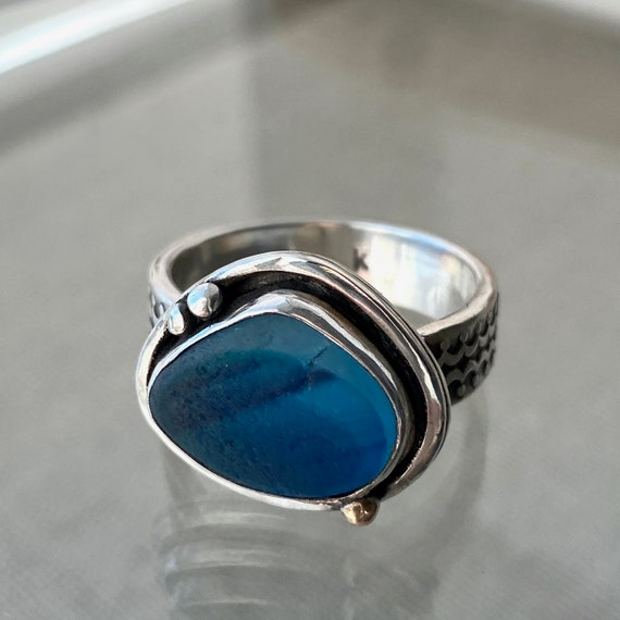Sea Glass Ring . Ready to Ship . Size 8.5