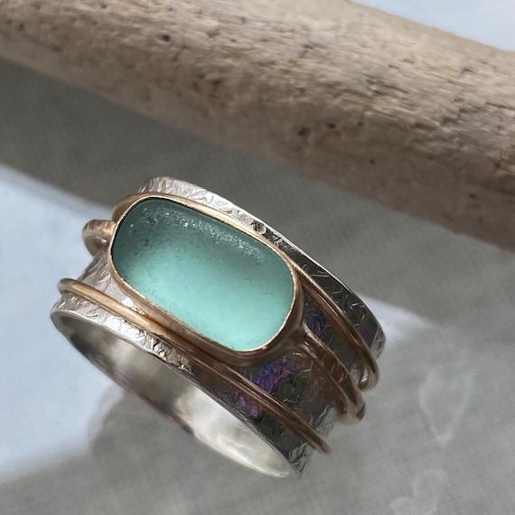 Sea Glass Ring | Meditation Ring | Spinner Ring | Sea Glass Jewelry | Beach Glass Jewelry