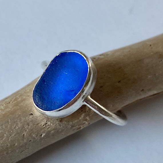 Sterling Silver Bezel Cobalt Sea Glass Ring, Size 6.5