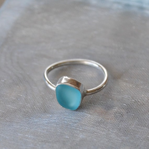 Sterling Silver Bezel Genuine Sea Glass Ring with Simple Band paired with a Lovely Sterling Silver Bezel Genuine Sea Glass Pendant