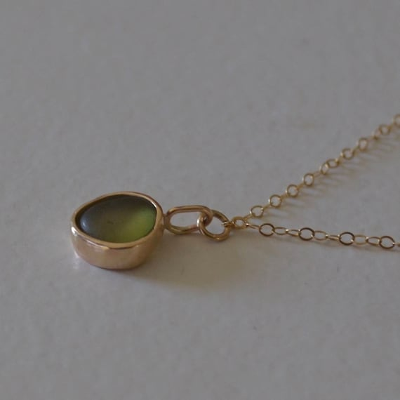 Gold Bezel Sea Glass Pendant with Gold Chain