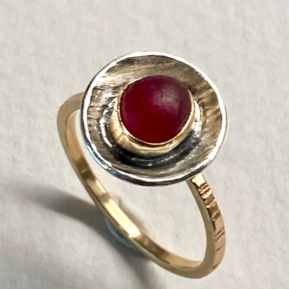 Sea Glass Ring I 14k Gold Bezel and Sterling Silver I Genuine Sea Glass I By Kate Samson Design