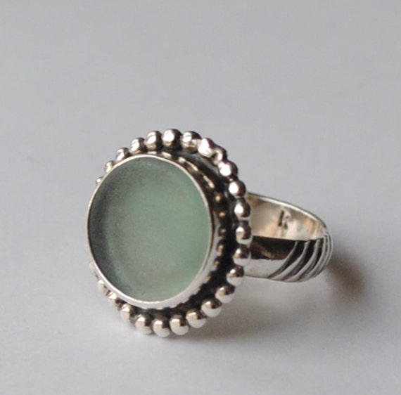 Sterling Silver Genuine Ohajiki Sage Sea Glass Ring with Decorative Band - Size 6.5