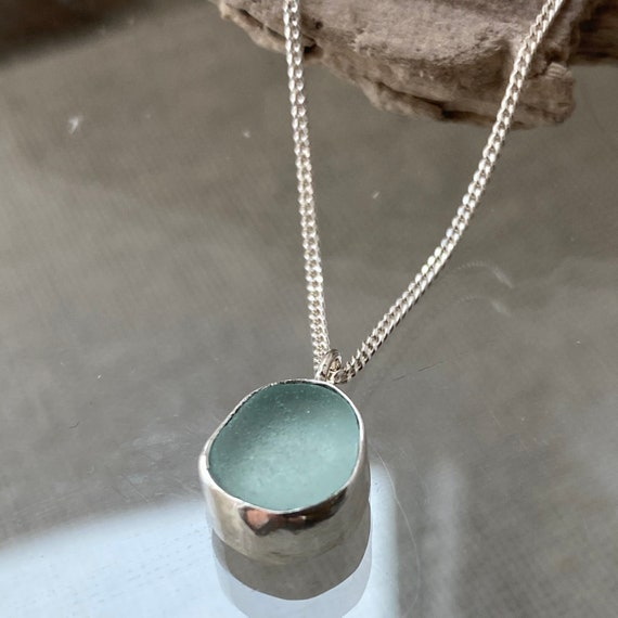 Sea Glass Jewelry | Pale Aqua Sea Glass Pendant