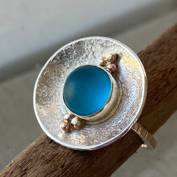 Sea Glass Ring  l  Sterling Silver Bezel I Bright Aqua Sea Glass l  Size 8.5 I Sea Glass Jewelry by Kate Samson