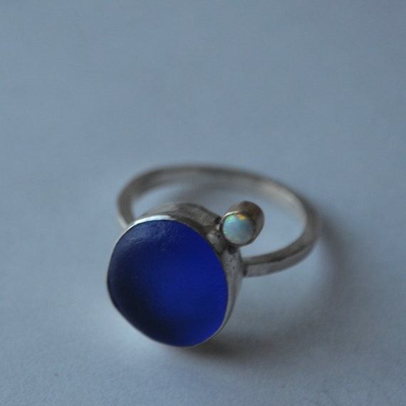 Sterling Silver Bezel Genuine Sea Glass Ring with Decorative Sterling Silver Band and Danity 14k Gold Bezel Opal