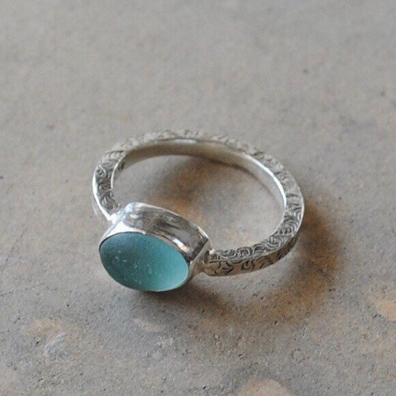Sterling Silver Bezel Genuine Sea Glass Ring with Decorative Sterling Silver Band - Sea Glass Ring