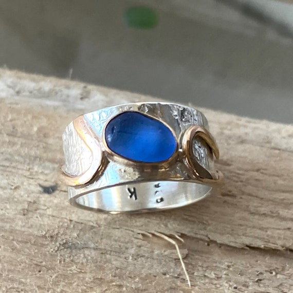 Sea Glass Ring | Bright Blue Sea Glass I size 6.5 | Sterling Silver and 14k Gold Sea Glass Ring | Sea Glass Jewelry