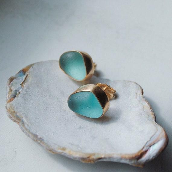Gold Bezel Genuine Sea Glass Stud Earrings  l  Genuine Sea Glass Studs  l  14k Gold  l  Sea Glass Jewelry by Kate Samson