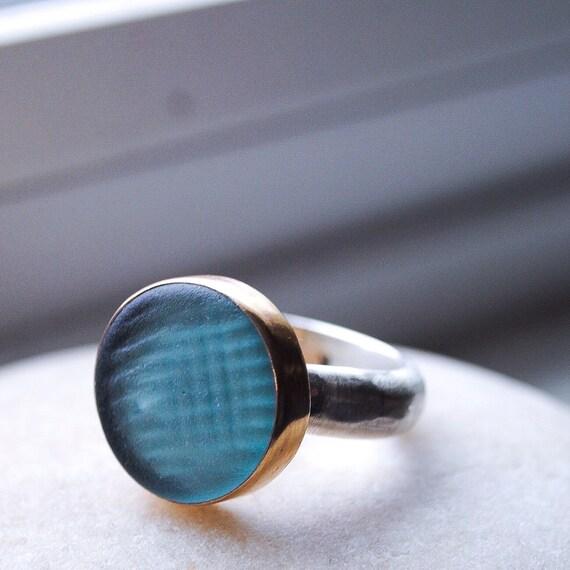 14k Gold Bezel Sea Glass Ring  l  Ohajiki Sea Glass Marble  l  Sea Glass Jewelry by Kate Samson