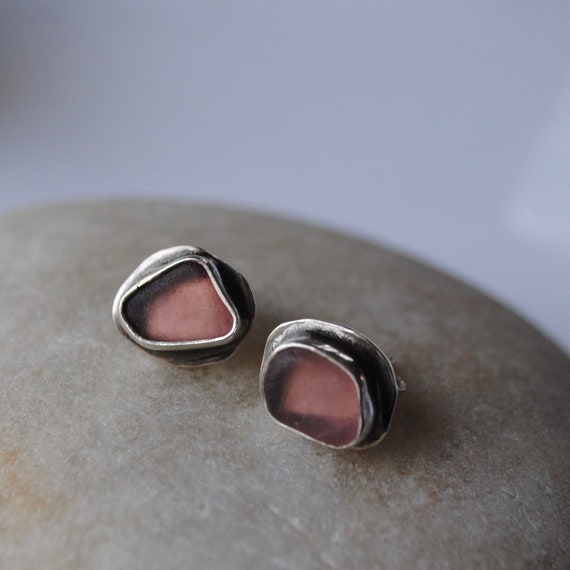 Sterling Silver Rare Pink Sea Glass Stud Earrings . Genuine Sea Glass . Sea Glass Studs . Beach Glass