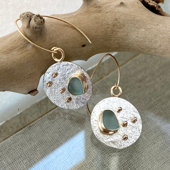 Sea Glass Earrings I Genuine Sea Glass I Mixed Metal I Kate Samson Jewelry