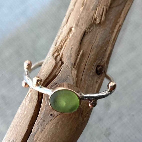 Sea Glass Ring . 14k Gold Bezel Sea Glass Ring . Size 6.5 . Ready to Ship